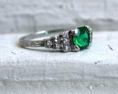 RESERVED - Amazing Vintage Platinum Diamond and Emerald Engagement Ring.
