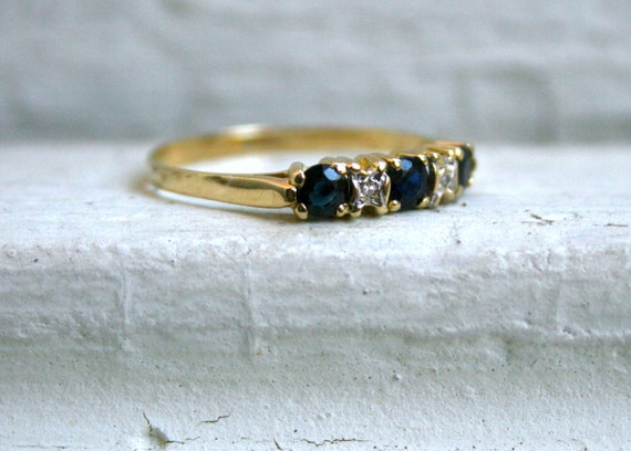 Lovely Vintage 14K Yellow Gold Diamond and Sapphire Wedding Band.