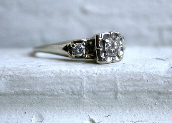 RESERVED - Traditional Vintage 14K White Gold Diamond Three Stone Engagement Ring - 0.64ct.