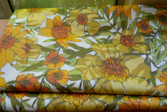 16 Feet of Vintage Taffeta Fabric, 70's Yellow, Orange, Olive Floral