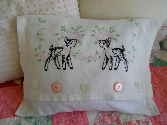 Darling Embroidered Deer Pillow