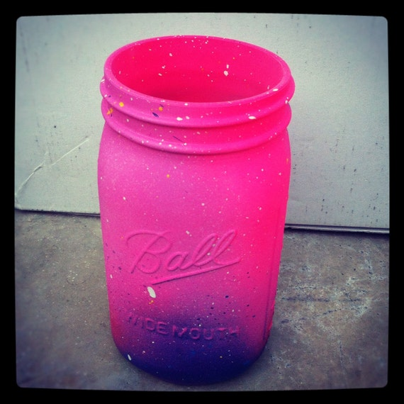 Neon Ombre Pink Galaxy Mason Jar- Cosmic Inspired - Gorgeous Handmade - LARGE sized - Super Unique One-of-a-kind