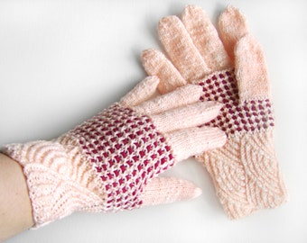 Hand Knitted Gloves - Pastel Peach and Red
