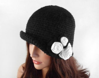 Crochet Cloche Hat with Flower - Black