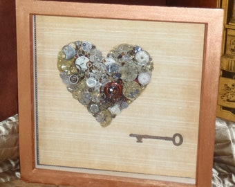 The Key to My SteamPunk Heart - Mixed Media 3D Art - XL / Extra Large