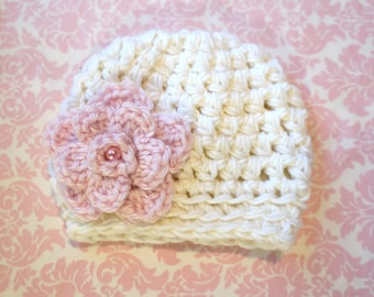 Cream beanie with light pink flower and glass pearl/ Newborn hat/ Baby girl hat