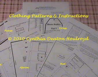 """PART #3 Option E - PATTERNS for Dress, Apron, Jacket, Purse, and Hat for 18"""" CDH """"Three Blind Mice..."""" Dolls"""