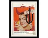 1968 SMIRNOFF Sexy Devil Vodka Ad, Vintage Advertisement Wall Decor Print