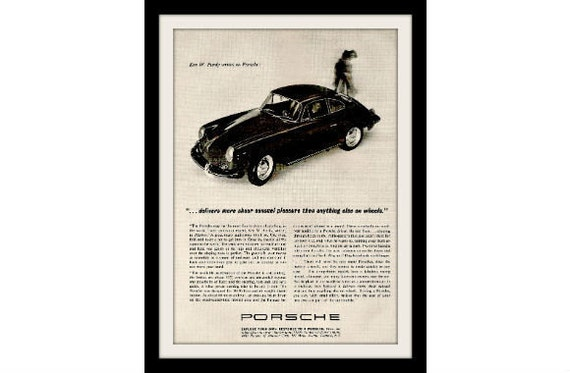 "PORSCHE 1965 Original Car Ad ""Sensual Pleasure"" Vintage Advertising Print"