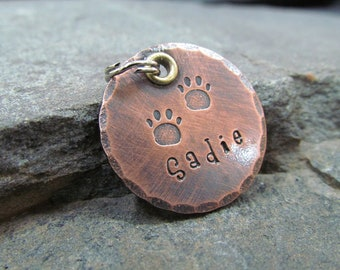 Pet ID Tag - Dog Tag - Pet tag - Hand Stamped Copper - Dog tag for dogs - Personalized pet/Dog tag - themadstampers -Engraved Paw Print Tag