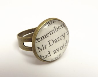 Jane Austen 'Mr Darcy'  literary book quote vintage bronze adjustable ring