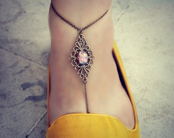 pink opal filigree anklet (SINGLE), slave anklet, body jewelry, toe ring, unique anklet, barefoot sandal