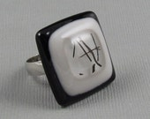 Fused Glass Ring - Black, Grey and Clear Striped - Adjustable Silver Ring (204)