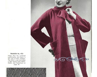 1930s Raglan Sweater Coat with Attached Scarf  - Knit pattern PDF 4721