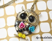 OWL Necklace - Extremely Cute Movable Eyes Owl Long Necklace - Antique Bronze Chain Necklace