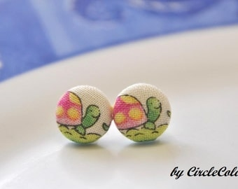 Turtle Earrings - Pink Turtle Fabric Covered Button Earrings - Post Stud Earrings