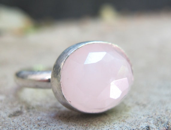 Rose Quartz Ring/ Sterling Silver Ring with Oval faceted Rose Quartz Gemstone/ Handmade