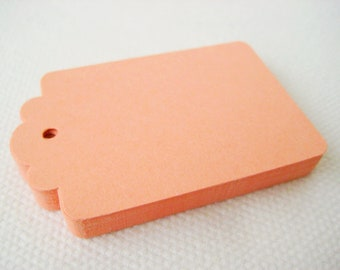 50 LIGHT CORAL Hang Tag, Gift Tag, Price Tag Die cuts punches cardstock 2.25X1.5 inch -Scrapbook, cards