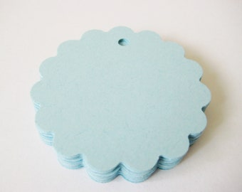 25 LIGHT BLUE Scallop Hang Tag, Gift Tag, Price Tag Die cuts punches cardstock 1 7/8 inch -Scrapbook, cards