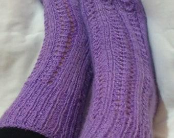 50% DISCOUNT - Purple Home Socks/Handknit Slippers/Wool Socks For Woman