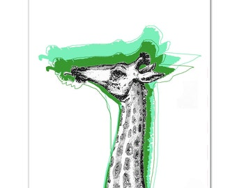 Mixed media Decorative art Animal painting drawing illustration portrait  print POSTER 8x10Cool Giraffe - Green