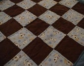 Blue And Brown Child Or Baby Quilt