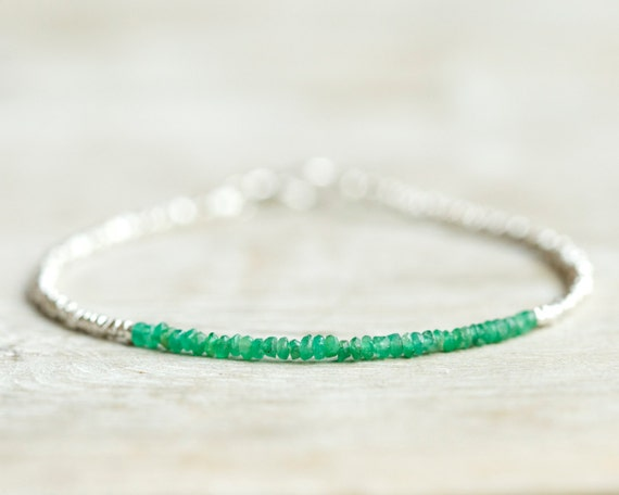 SALE Emerald beaded bracelet with Karen Hill tribe silver beads. Delicate jewelry.