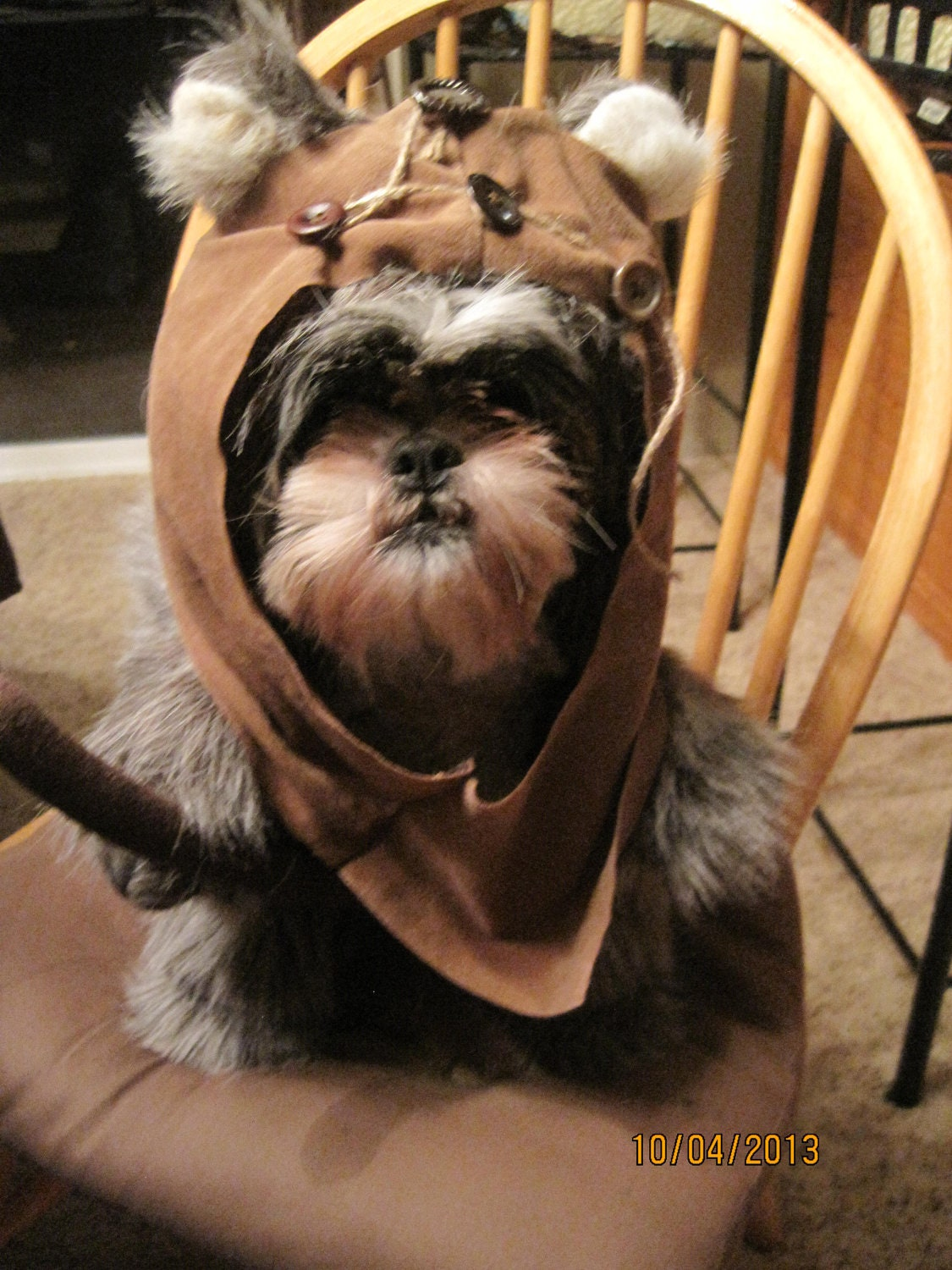 ewok hood fur dog halloween costume size large. Black Bedroom Furniture Sets. Home Design Ideas