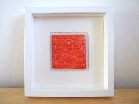 Coral red ceramic tile birds heart love words