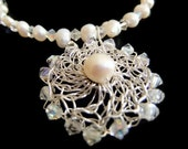 Wedding Freshwater Pearl and Swarovski Crystal Necklace OOAK