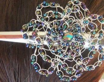 Wire Crochet Flower Hair Clip, Iridescent Multicolor Beads