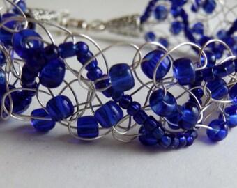 Cobalt Blue and Silver Wire Crochet Bracelet