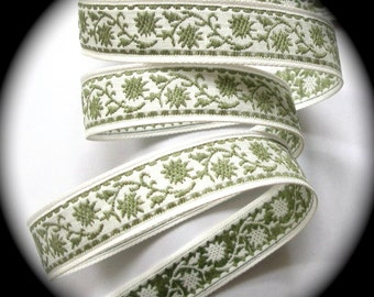 """Vintage Woven Ribbon -  5/8"""" x 5 yds  Natural and Sage- Floral"""