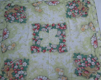 On Sale - 1960s Vintage Tablecloth with Flower Baskets and Fruit.