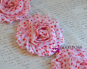 1/2 or 1 YARD Increment - White With Red Dots - Shabby Chiffon Flower Rose Trim - DIY Flower Headband Hair Clip Wholesale Craft Supplies