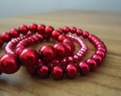 Glass Pearl Bracelets - set of 3 - dark red - small size