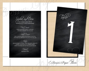 Chalkboard Wedding Menu, Table Numbers, Instagram, Cards and Gifts, Signature Drink Signs (4x6): Text-Editable, Printable, Instant Download