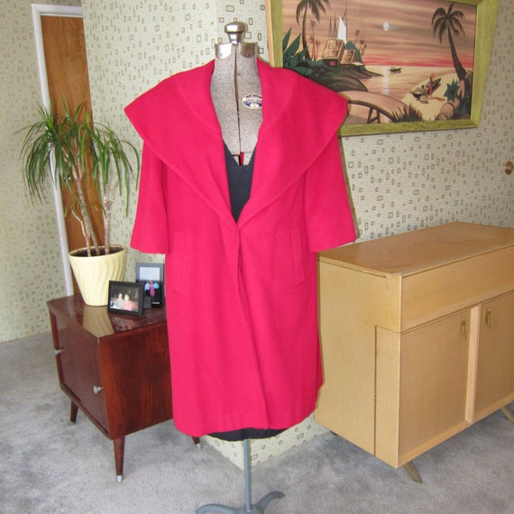 Womens Vintage 1950's Red Cashmere Swing Coat
