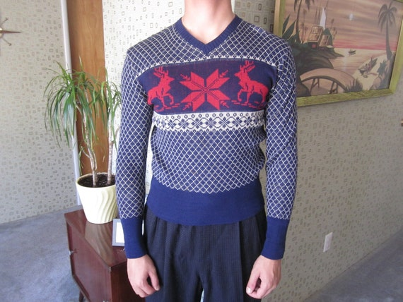 1940s/50s Blue and Red Vintage Ski Sweater