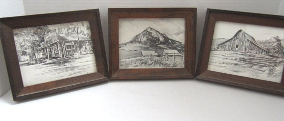 Vintage Lithographic Scenes by Don B. Williams of Morro Bay, Calif. c.1970
