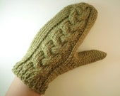 Khaki green mittens cable knit , green gloves