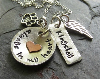 Pet Memorial-Personalized Hand Stamped Dog Remembrance Memorial Necklace-Sterling Silver Pet Memorial Necklace