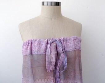 Dress long strapless upcycled sheer sari purple patterned chiffon large medium