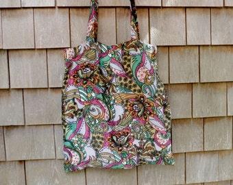Beach bag shopping bag purple retro vintage fabric