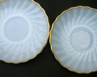 Anchor Hocking Fire King Suburbia Saucers Set of Two Gold Trimmed Milk Glass