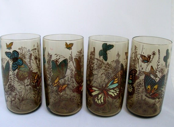 Anchor Hocking Butterfly Glasses Set of Four Smoky Amber Cups