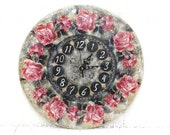 Large Wall Clock Pink Roses Country Decor Vintage Style Clock - SelenarteDecoupage