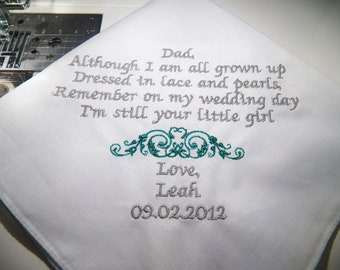 Personalized  father of the Bride Handkerchief Wedding Keepsake  ***FREE SHIPPING to all US states***