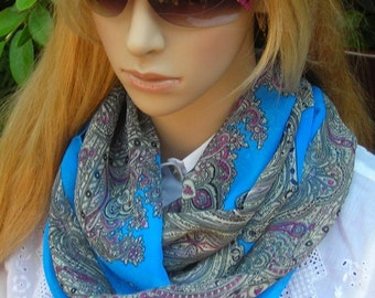 Mother's day Infinity Scarf  Necklace Scarf Infinity Scarf Silky paisley print  blue gray purple