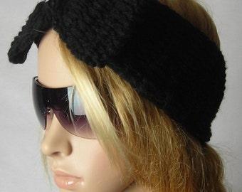 Knitted - LARGE Bow Ear Warmer - headband - head wrap-ear warmer  - headwrap with bow - Black